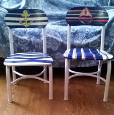 Both of the completed vintage, children's school chairs