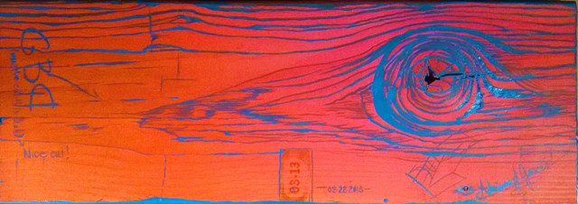 Flip Flop, Orange side of a reversible bench seat. See Flip Flop Turquoise for the obverse.